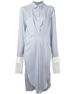 Fringed Striped Shirt Dress