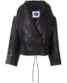 Wide Lapel Leather Cropped Jacket