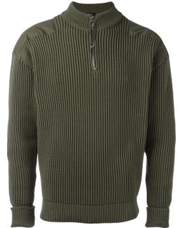 Zipped Ribbed Sweater