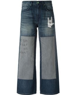Embroidered Patchwork Jeans