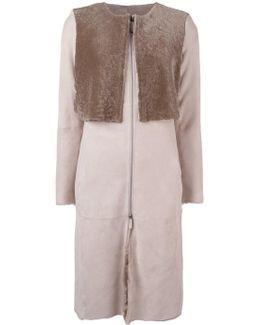 Collarless Zip-up Coat