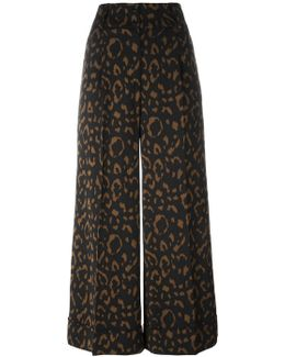 Jacquard Wide Leg Cropped Trousers