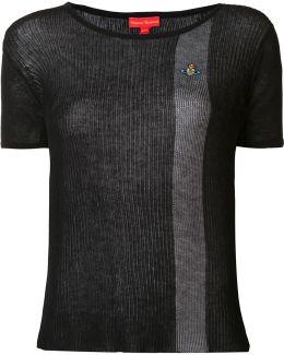 Semi-sheer Contrast Stripe T-shirt