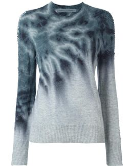Tie-dye Shredded Sleeve Jumper