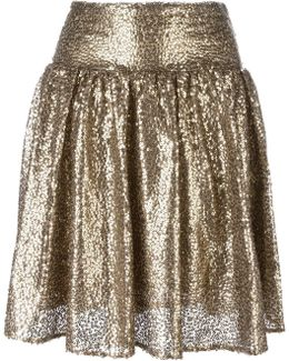 Metallic Sequin Pleated Skirt