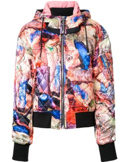 Multiple Prints Quilted Bomber