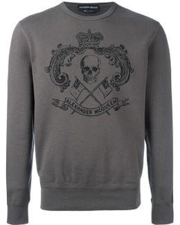Skull Crest Print Sweatshirt