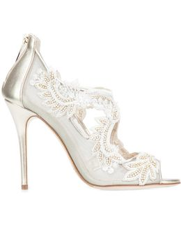 Sequin Embroidered Mesh Pumps