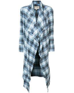 Asymmetric Checked Cardigan