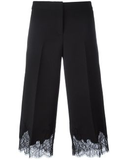 Lace Hem Cropped Trousers