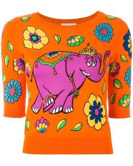 Elephant Intarsia Top