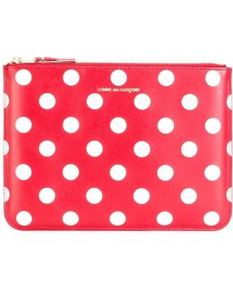 Polka Dots Zipped Clutch