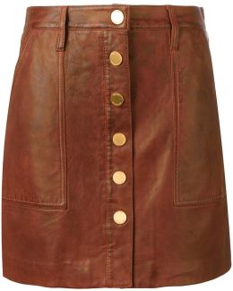 Buttoned Leather Skirt