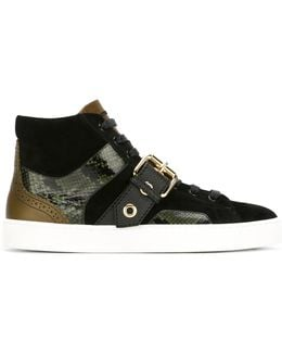 Buckle Detail Hi-top Sneakers