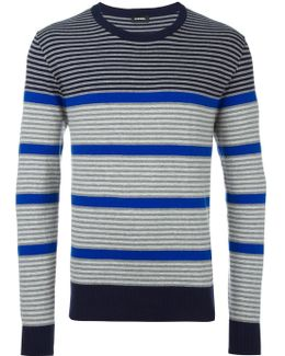 Ribbed Trim Striped Jumper
