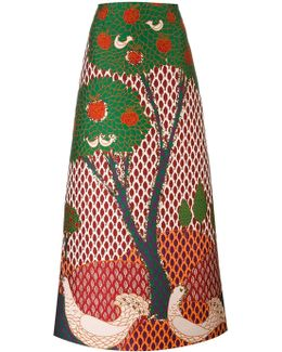 Embroidered Tree Maxi Skirt