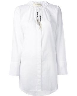 Drawstring Collar Shirt
