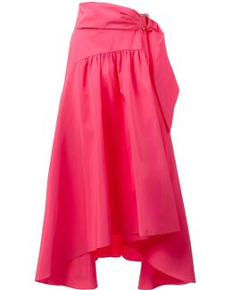 Asymmetric Taffeta Midi Skirt