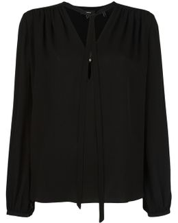 Tie Neck Shift Blouse