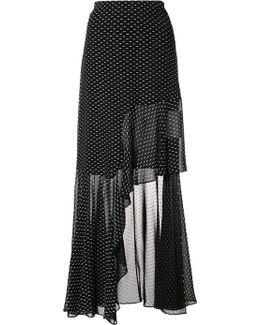 Asymmetric Ruffled Fil Coupé Chiffon Maxi Skirt