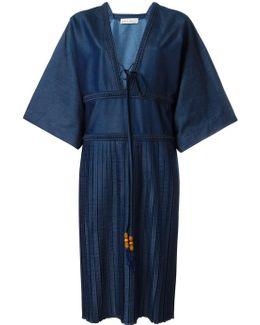 V-neck Pleat Dress