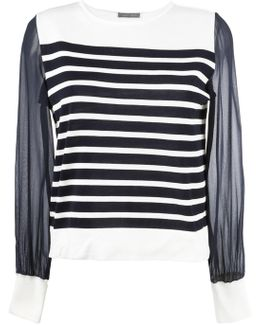 Sheer Sleeves Knitted Blouse
