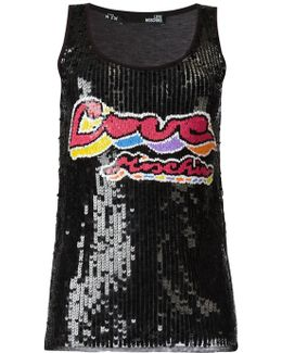 Sequinned Logo Tank