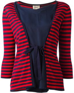 Tied Front Striped Blouse