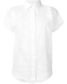 Perforated Short-sleeve Blouse