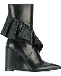 Mid Calf Ruffle Boots