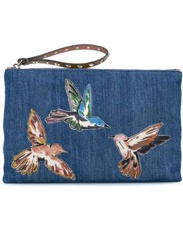 Embroidered Bird Denim Clutch