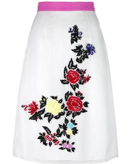 Rose Embroidery Straight Skirt