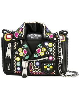 Mirror Embroidered Biker Shoulder Bag