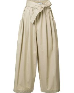 Cropped Drawstring Flared Trousers