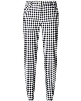 Checked Slim-fit Cropped Trousers