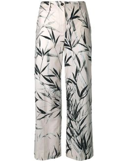 Leaves Print Cropped Trousers