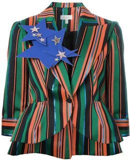 Peaked Lapels Striped Blazer