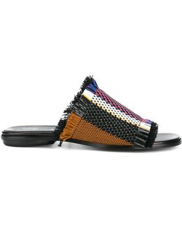 Striped Woven Sandals