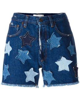 Denim Shorts With Stars