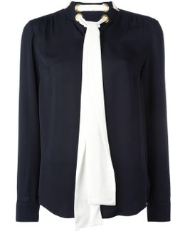 Contrast Bow Blouse