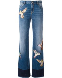 Birds Patch Straight Jeans