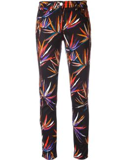 Leaves Print Stretch Jeans