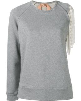 Fringed Sleeve Detail Sweatshirt