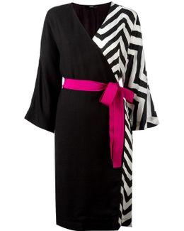 Zig-zag Detail Wrap Dress