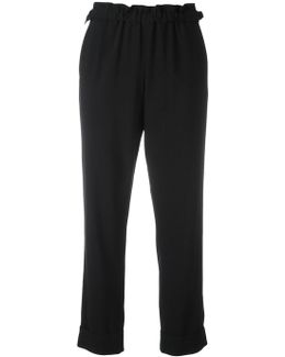 Elasticated Hem Cropped Trousers