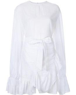 Elongated Sleeves Ruffled Dress