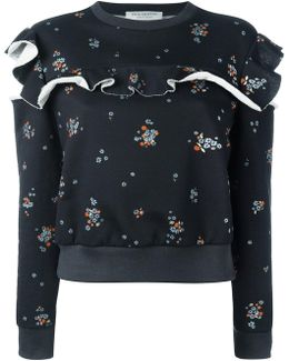 Ruffled Floral-print Cotton-jersey Sweatshirt