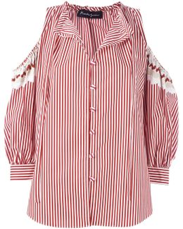 Cold-shoulder Striped Shirt
