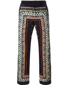Lace Print Corduroy Trousers