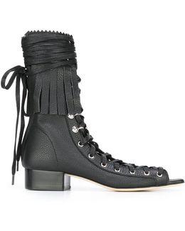 Lace-up Fringe Sandals